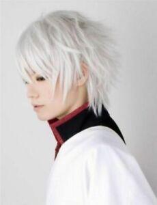 Men Gintama Sakata Gintoki Cosplay Silver White Bangs Short Hair Full Wig New