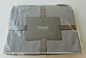 100% Pure Silk Bed Sheets 22 Momme Silk Bedding Flat Sheet Grey King size