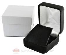 "Black Leather Metal Earring Jewelry Gift Box 1 7/8""W x 2 1/8""D x 1 1/2""H"