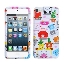 iPod Touch 5th & 6th Gen HARD FITTED SKIN CASE COVER GREEN PINK WHITE DOGS PLANT