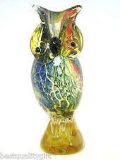 NEW MURANO STYLE GLASS MULTI COLOR OWL FIGURINE