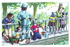 Mainzer postcard Dressed Cats  fishing at park # 4925 policeman