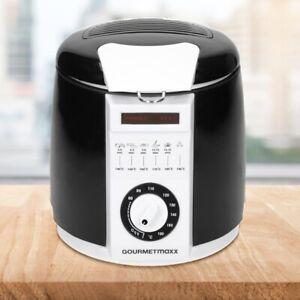 Gourmetmaxx Mini-friteuse 840W frites croustillantes 1L max 190°C blanc noir