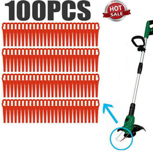 100pcs Red Plastic Blades Cutter Replace For Cordless Grass Trimmer Strimmer