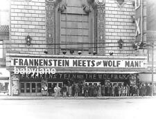 027 FRANKENSTEIN MEETS THE WOLF MAN THEATRE MARQUEE LON CHANEY JR PHOTO