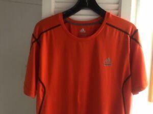 Adidas Techfit Compression ClimaLite Mens Short-Sleeve Shirt, Orange,Size L EUC