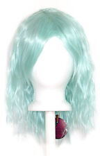 14'' Crimped Shoulder Length w/ Short Bangs Mint Green Cosplay Wig NEW