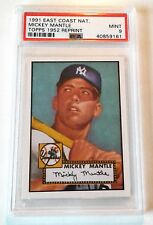 1991 TOPPS MICKEY MANTLE PSA 9 /  1952 RP / EAST COAST NAT'  LOW POP ! 50/50 C'