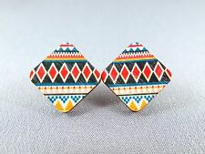 Stud Earrings Wooden - Tiled Diamonds