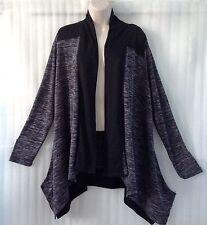 Andrea Jovine Womens Plus size Sweater Top Cardigan 20/18/1X Black Gray New $78