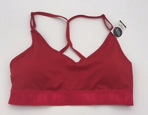 Victoria Secret PINK Ultimate Red Strappy Light Support Sports Bra Size L NEW