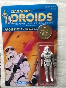 CUSTOM DROIDS STORMTROOPER ON SUPERB  DROIDS ANIMATED SERIES CARD WITH GOLD COIN