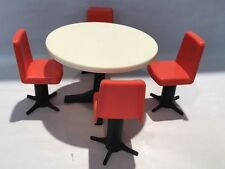 VINTAGE WOLVERINE DOLLHOUSE FURNITURE - ROUND TABLE &  RED CHAIRS- 1960'S CUTE