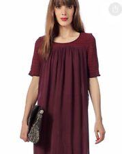 Antik Batik Frawley Babydoll Burgundy Dress With Pockets Size S 38
