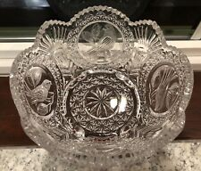 Stunning Vintage Hofbauer German Byrdes Footed Crystal Bowl Birds 4 Panel Etched