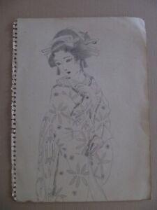 Japanese artist prepatory drawing - Nakahara Junichi - 1930s - woman #1