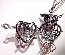 SILVER OWL LOCKET cage filigree prayer box memento bird necklace pendant new M2