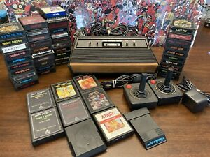 Huge Atari 2600 Lot Bundle Video Game Console W/ Controllers & 50 Games - Tested