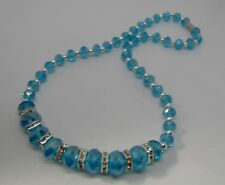 Light Blue Faceted Graduated Crystal Necklace with Magnetic Clasp