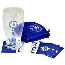 CHELSEA FC WORDMARK MINI BAR BEER PINT GLASS SET TOWEL 4 BEER MATS XMAS GIFT