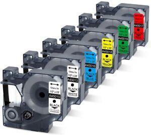 6x Kompatibel zu Dymo D1 12mm Schriftband 45010 45013 45019 LabelManager 160 280