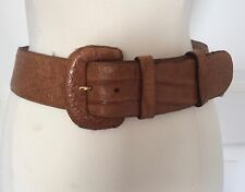 "Donna Karan New York Genuine Caiman Crocodile Brown Belt Italy 2"" Contoured Sz.S"
