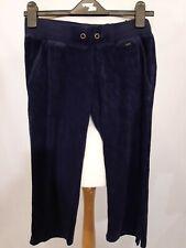 Tommy Hilfiger Velour Cropped Jogging Bottoms - Size XS - Navy - 100% Cotton