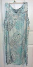 Croft & Barrow Sleeveless Nightgown Blue/Gray/White Patchwork KNIT Size 1X NWT