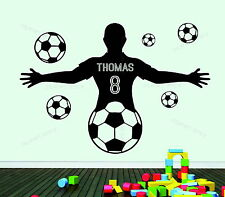 Football Player Personalised Any Name & Number Decor Vinyl Wall Sticker Bedroom
