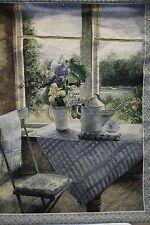 "Tapestry Garden Tea Window Floral Scene gift Multi color blue green Rod 42""x 33"""