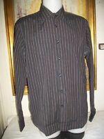 Chemise habillé coton noir rayé marron HUGO BOSS NOIR 43/17 M/L  manches longues