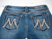 MISS ME Denim Women's Stretchable Embellished Mid Rise Boot Cut Jeans 29
