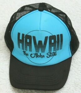 Hawaii Black Blue Hat Cap Adjustable Snapback One Size Fits All Polyester Aloha