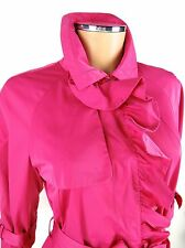 ESCADA SPORT Ruffles Trench Coat SIZE US 6 EU 36 Hot Pink Belted Designer Jacket