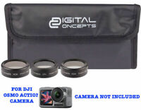 HD 3 FILTER KIT ND2 ND8 CIRCULAR POLARIZER FOR DJI OSMO ACTION CAMERA W 2 SCREEN