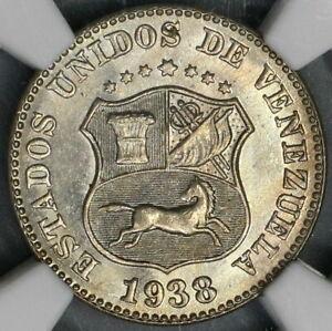 1938 NGC MS 63 Venezuela 5 Centimos Horse Lustrous UNC Coin (21083006C)