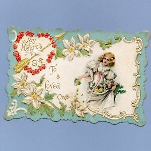 Vintage Valentine's Day Card VALENTINE Victorian My Heart's A Gift EMBOSSED 1900
