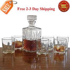 Whiskey Decanter Set 6 Glasses Scotch Glass Bottle Bourbon Liquor Gift Vintage