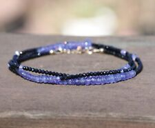 Natural Black Spinel Tanzanite Long Necklace Wrap Bracelet 14K Yellow Gold