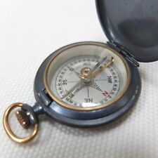 ANTIQUE FRANCIS BARKER SHALLOW HUNTER POCKET COMPASS BRASS CASED VINTAGE c.1890