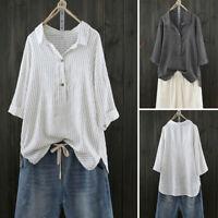 Women Button Up Pullover Striped Cotton linen Top T Shirt Plus Size Tunic Blouse