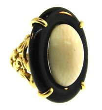 VINTAGE 18k Yellow Gold, Onyx & Stone Cocktail Ring Circa 1970s