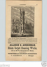 1876 PAPER AD Masonic Temple Philadelphia Allison & Ackerman Steam Carpet Clean