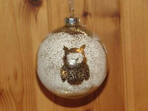 1 x Sass & Belle Luster Snowdust Owl Stencil Glass Christmas Bauble BNWT