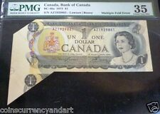 MULTIPLE FOLD  ERROR  .PMG GRADED ERROR BANKNOTE ,$1 1973 BANK OF CANADA