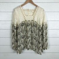FLOREAT Anthropologie Cantata Peasant Top Eyelet Lace Sheer L/S Blouse size 8