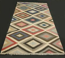 5x8 Feet Hand Woven Cotton Kilim Area Rug Abstract Dhurrie DN-364