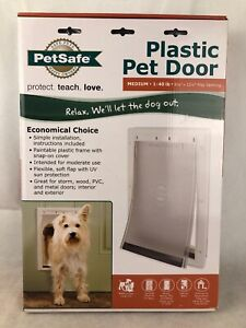 PetSafe Plastic Pet Door with Soft Tinted Flap White Medium  Up To 40 Ib For Dog