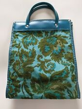 Vtg 1960's Avon Lady Blue-Green Flowered Fabric Tapestry Sales Bag 12""
