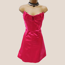 KAREN MILLEN SZ-10 Pink Satin Pleat Bandeau Prom Cocktail Party A-Line Dress